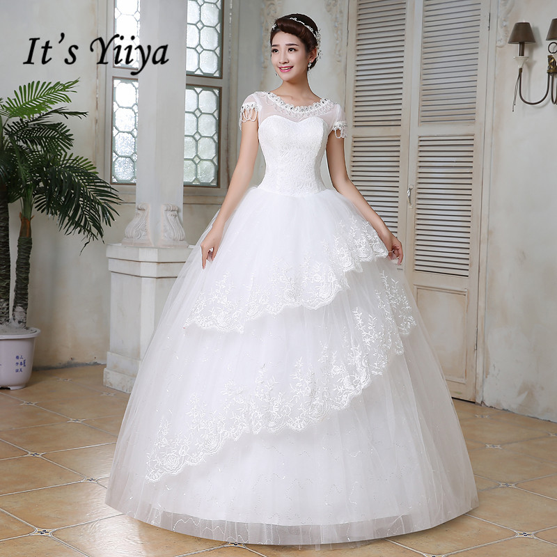 Free shipping wedding dresses 2017 white plus size lace for Wedding dress plus size cheap