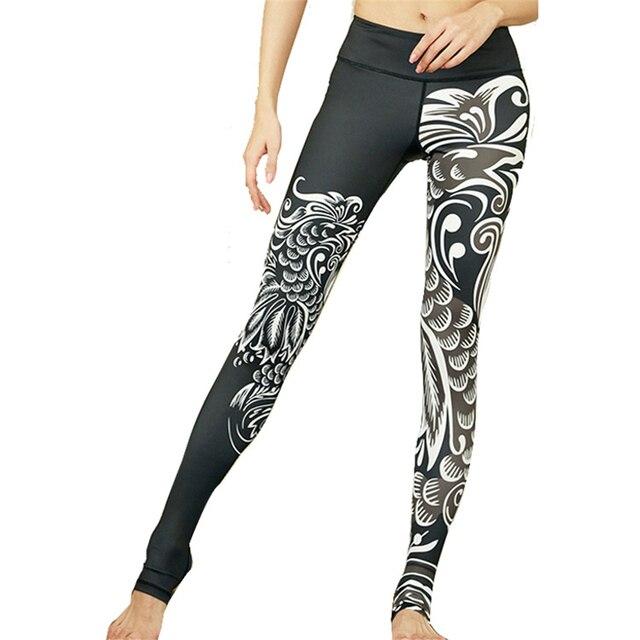 Oyoo Noir Phoenix Papier Découpé Imprimé Yoga Séance D entraînement de  Leggings Femmes Élastique Courir 441b45e082f