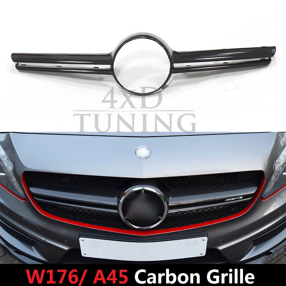 For mercedes a class w176 a45 amg carbon fiber front grille 2012 2013 2014 2015