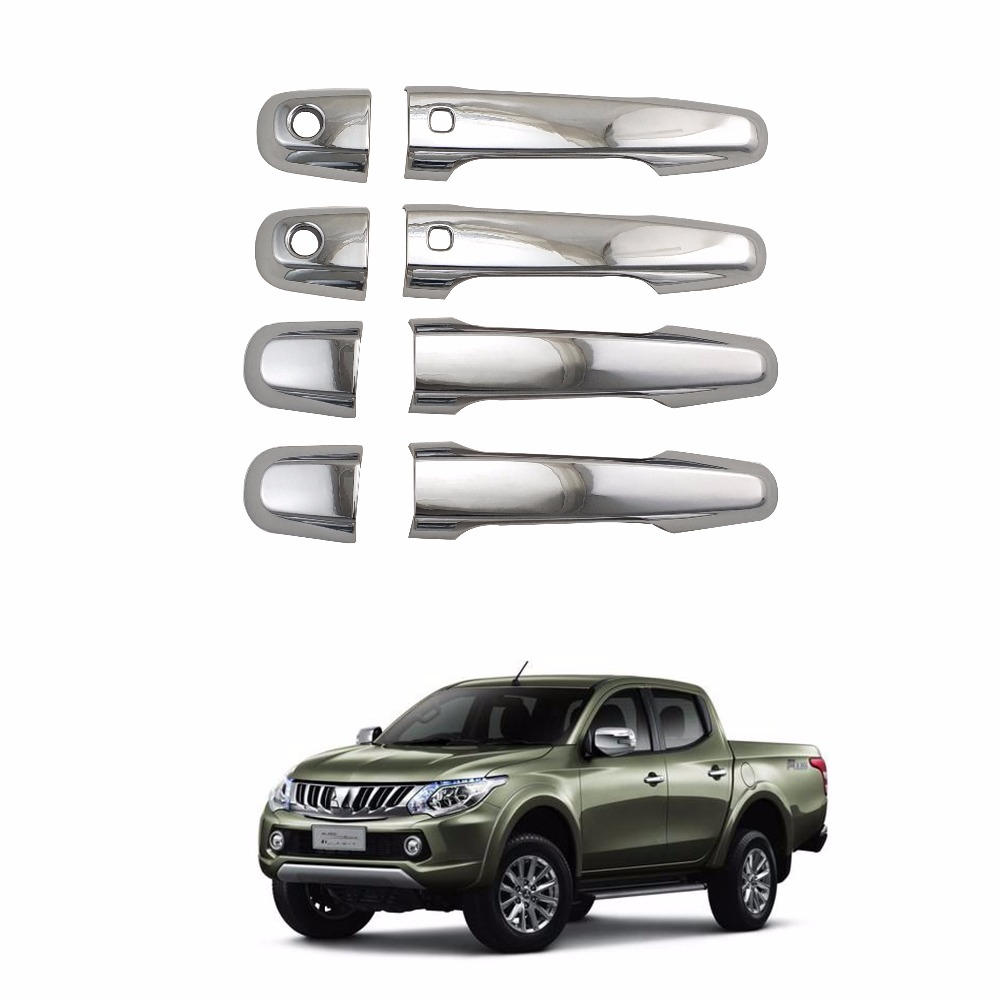 2016-2020 For Mitsubishi TRITON L200 Pajero Sport Chrome plated DOOR HANDLE COVER Car decoration Stickers Covers Trim image