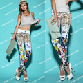 Autumn Spring Fashion Women's White Print Flower Jeans , The Female Leopard Printed Denim Trousers For Women Woman Jean TC011
