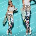Primavera outono Mulheres Da Moda das calças de Brim Da Cópia Da Flor Branca, a Fêmea de Leopardo Impresso Calças Jeans Para As Mulheres Mulher Jean TC011