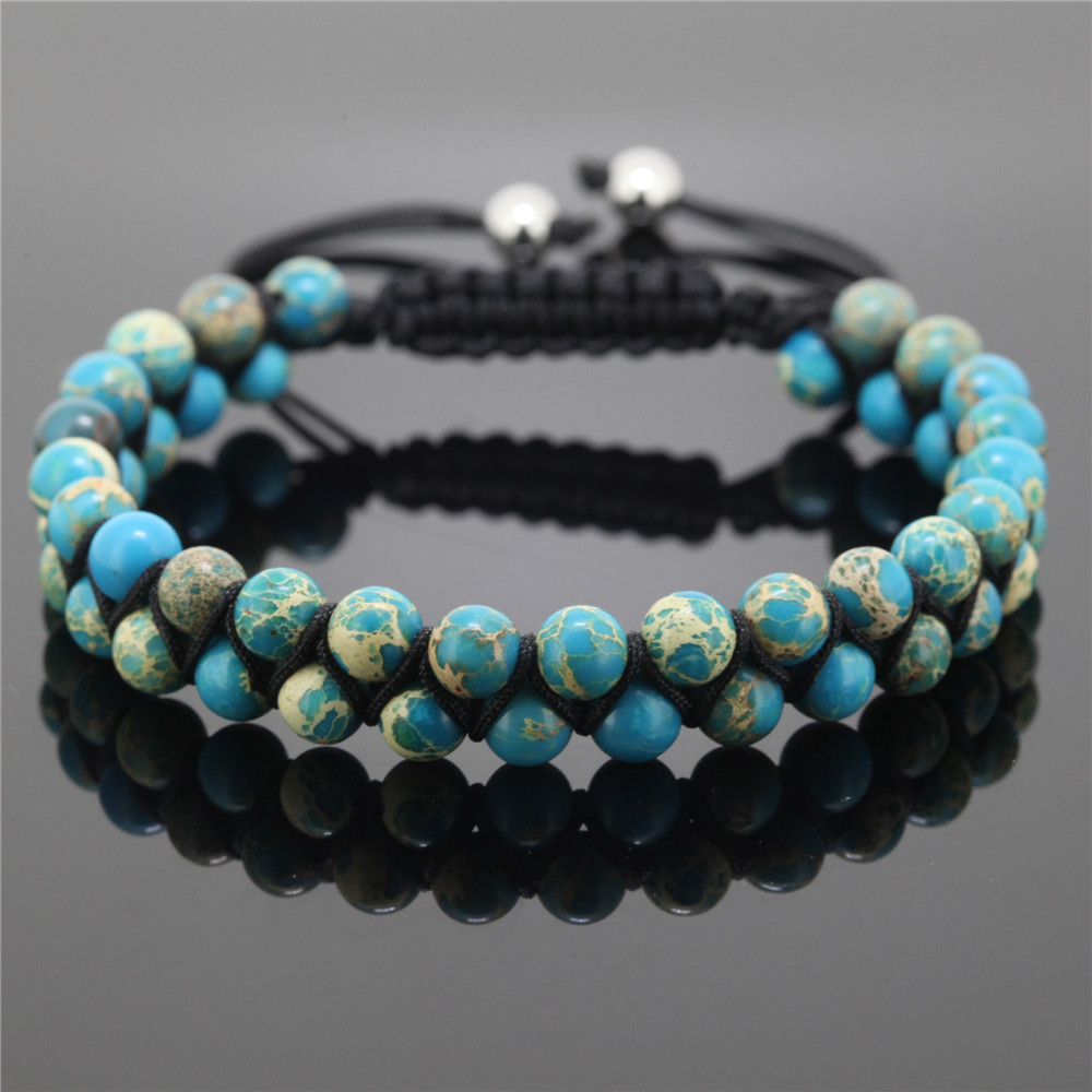 New Jewelry High Quality 6mm Sea Sediment Beads Wrap Bracelet Nature Braiding Macrame For Men And Women In Charm Bracelets From