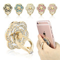 Luxury Rose Flowers Mobile Phone Metal Finger Ring Smartphone Stand Holder For iPhone7 7plus Samsung LG Sony HTC Xiaomi