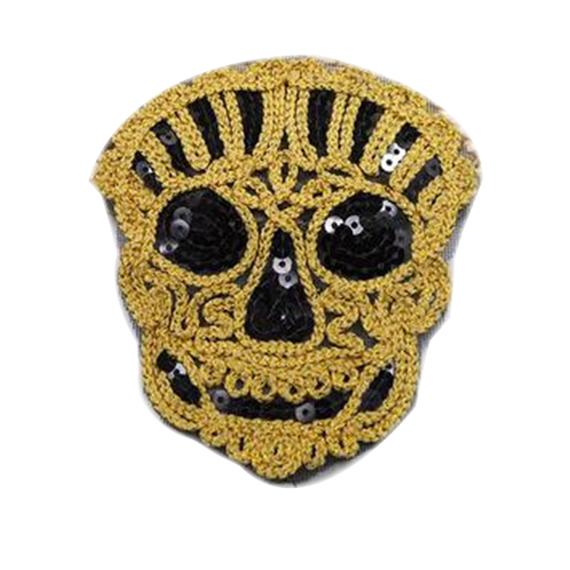 Girl men clothes Diy sequins patch deal with it 10cm skull head iron on patches for clothing fashion stickers free shipping
