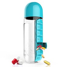 600ML Plastic Water Bottle With Daily Pill Box Organizer