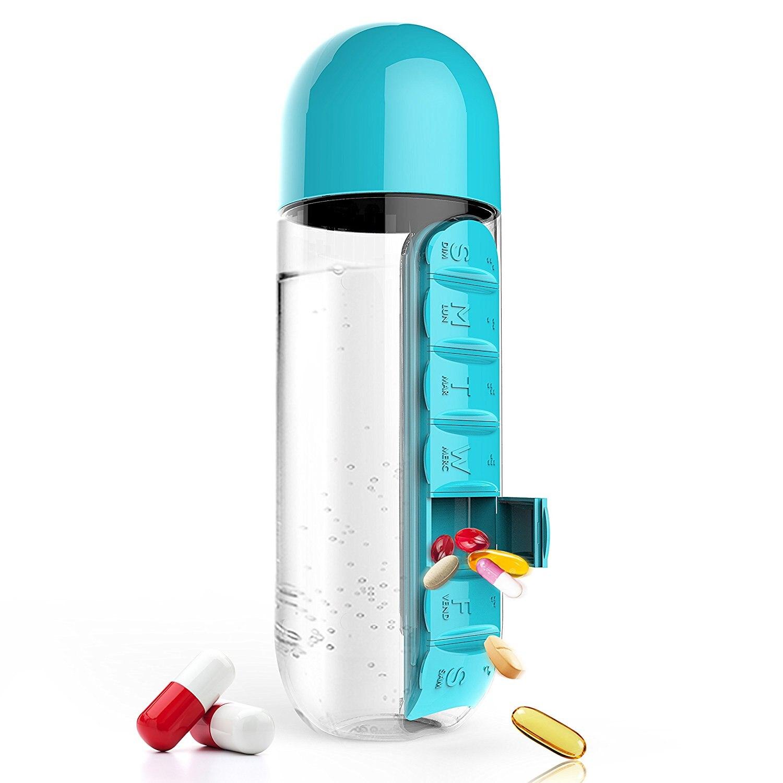 Botella de agua de plástico de 600 ml con botellas de agua organizadoras de pastillas diarias