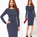 2016 new women dress spring  explosion - elastic long sleeved office dress package hip pencil dresses  polka dot dress big sizes