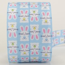 NEW 50 yards blue rabbit Easter ribbon printed grosgrain ribbon free shipping(China)