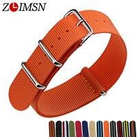 ZLIMSN 10pcs Lot Nato Nylon Strap Watchbands Watch Belt Silver Metal Buckle Watchband Relojes Hombre 2017
