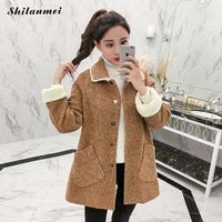 Winter Warm Korean Women's Woolen Coat Lapel Single Breasted Loose Lamb Hair Camel Plaid Wool Coat Elegant Pocket Female Outwear