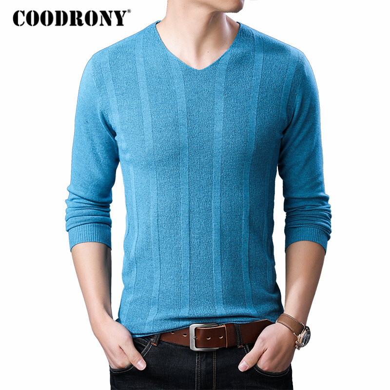 COODRONY Brand Sweater Men Streetwear Fashion V-Neck Pullover Men Slim Fit Knitwear Pull Homme Autumn Winter Wool Sweaters 91063