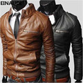 EINAUDI Leather Jacket Casual Men Clothing  Autumn Winter New Fashion Zipper Slim Faux Leather Motorcycle Men Plus Size  Jacket