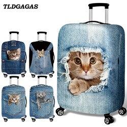 Tldgagas tecido elástico bonito gato bagagem capa protetora terno 18-32 Polegada trole mala caso capas acessórios de viagem