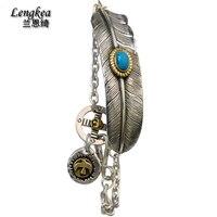 Ücretsiz kargo erkek kadın tay gümüş bilezik 925 gümüş vintage tüy kadın el zincir aksesuarları gümüş jewerly