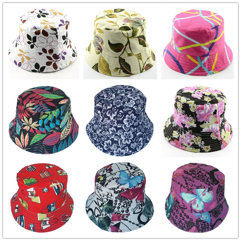 Bnaturalwell Retail New Women Floral Sun Hat Flower Canvas Bucket Hat Summer Beach SunHat Girls Caps 1pc WH001D
