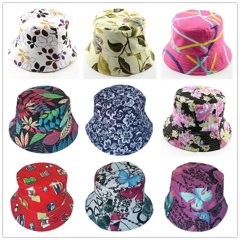 Bnaturalwell Retail New Women Floral Sun Hat Flower Canvas Bucket Hat Summer Beach SunHat Girls Caps 1pc WH001D