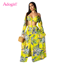 Adogirl Floral Print Women Sexy Two Piece Set Dress Lace Up Off Shoulder Long Sleeve Crop Top Summer Beach Maxi Dresses sexy off shoulder random floral print top
