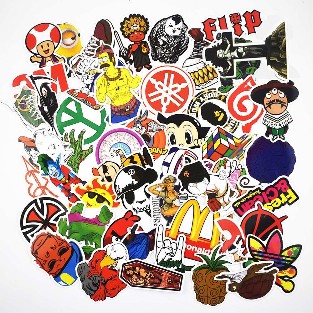 50Pcs bag Mixed Cartoon Laptop Sticker Vinyl Graffiti Stickers For Car Suitcase Skateboard Phone Stickers Waterproof Decoration in Tablet Decals from Computer Office