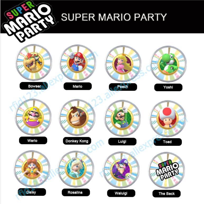 Super Mario Party Amiibo NFC Coin Tag Luigi Bowser Wario