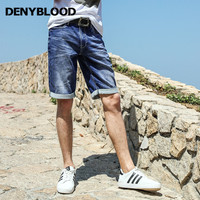 Denyblood Jeans Mens Shorts Kintted Denim Strech SIim Stretch Capris High Quality Bermuda Light Weight Short
