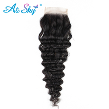 Ali Sky 100% Human Hair Extensions Brazilian Virgin Hair Deep Wave Lace Frontal Closure 8-20 Inch 4*4 Free Part