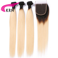 KRN 1B 613 Color Brazilian Human Hair 3 Pieces Bundles With Lace Closure Straight Remy Hair