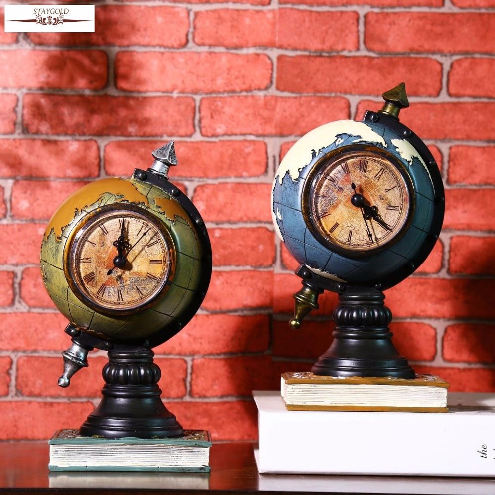 Retro World Globe Vintage Table Clock Home Decoration Accessories Retro Vintage  Clocks Resin Crafts 23*12*11cm In Desk U0026 Table Clocks From Home U0026 Garden On  ...