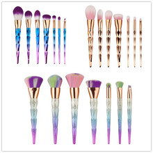 7pcs/set Makeup Brushes Set Gradient color Spiral Handle Cosmetics Make up Tools Powder Contour Foundation Brush Kit G07012 new coastal scents 22 pieces makeup brushes make up brush set eyeshadow contour powder contour cream brush tools dhl free shipp