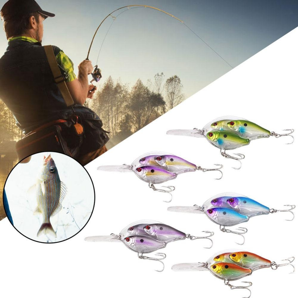 Outdoor Fishing Lure Painted Crank Bait Bass Tackle Crankbait Sharp Deep Hook