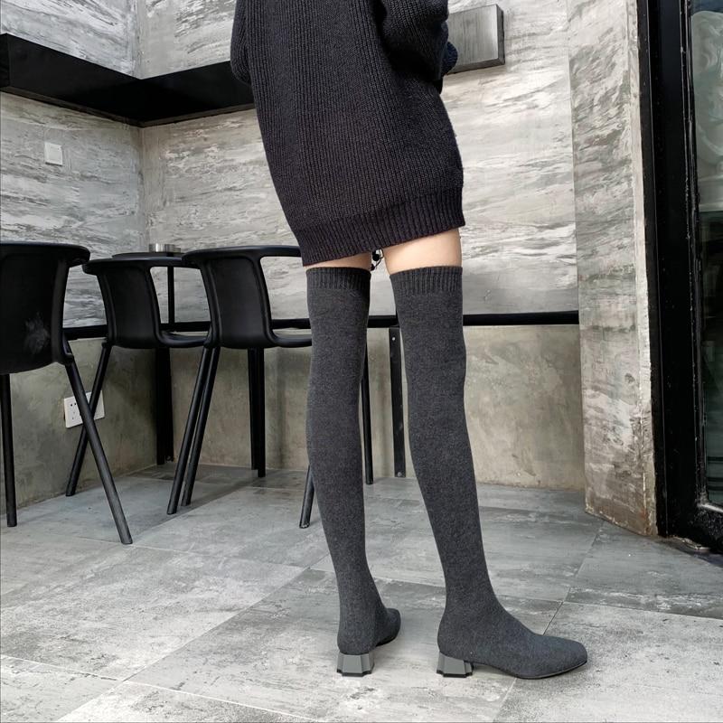 Black Lavoro A Tacchi gray Alta Donne Di Calza Mujer Nero Botas Piatti Lunghi Punta Stivali Maglia Grigio Della Sexy Quadrata Quadrati Elastica Coscia Largas qB6Zwp