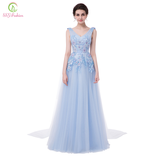 73450acc7826 SSYFashion New Luxury Lace Flower Evening Dress Banquet Light Blue Beading V -neck Long Prom Party Formal Dresses Robe De Soiree