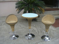 3pcs Luxury All Weather Resin Wicker Bar Set For Home Patio / Balcony