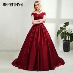 BEPEITHY темно-синее длинное вечернее платье с v-образным вырезом, кружевное винтажное выпускное платье с бисером, недорогое вечернее платье с открытыми плечами - Цвет: Бургундия