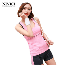Women's Yoga Set New Two Pieces Sportswear for Women U-neck Exercise Vest and Shorts Breathable Fitness 3 Colors Jogging Outdoor