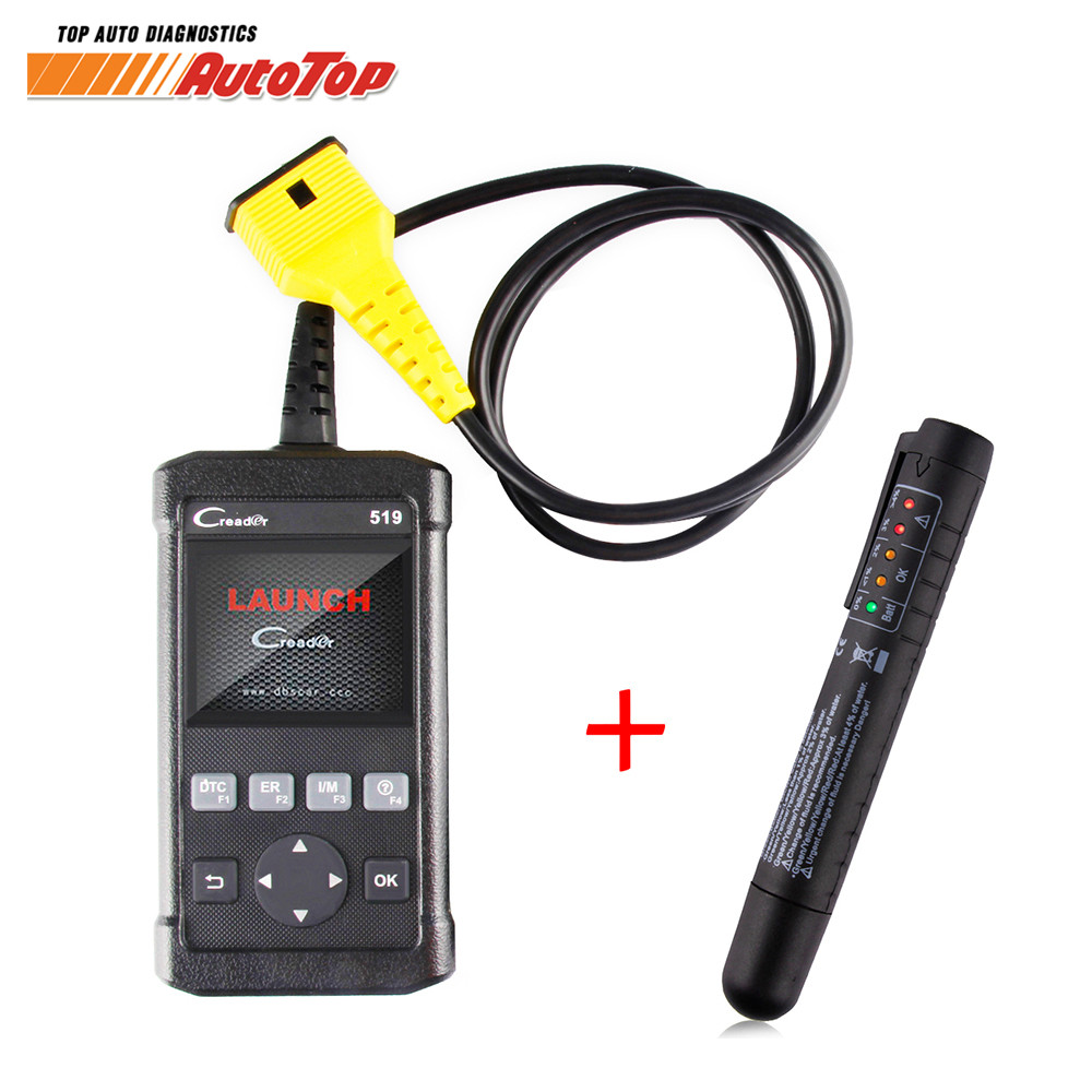 100% Original LAUNCH Creader 519 ODB OBD2 Scanner for OBD2 CAN EOBD JOBD Cars CR519 Diagnostic Tool FREE Gift Brake Fluid Tester 100% original launch creader 519 odb obd2 scanner for obd2 can eobd jobd cars cr519 diagnostic tool free gift brake fluid tester