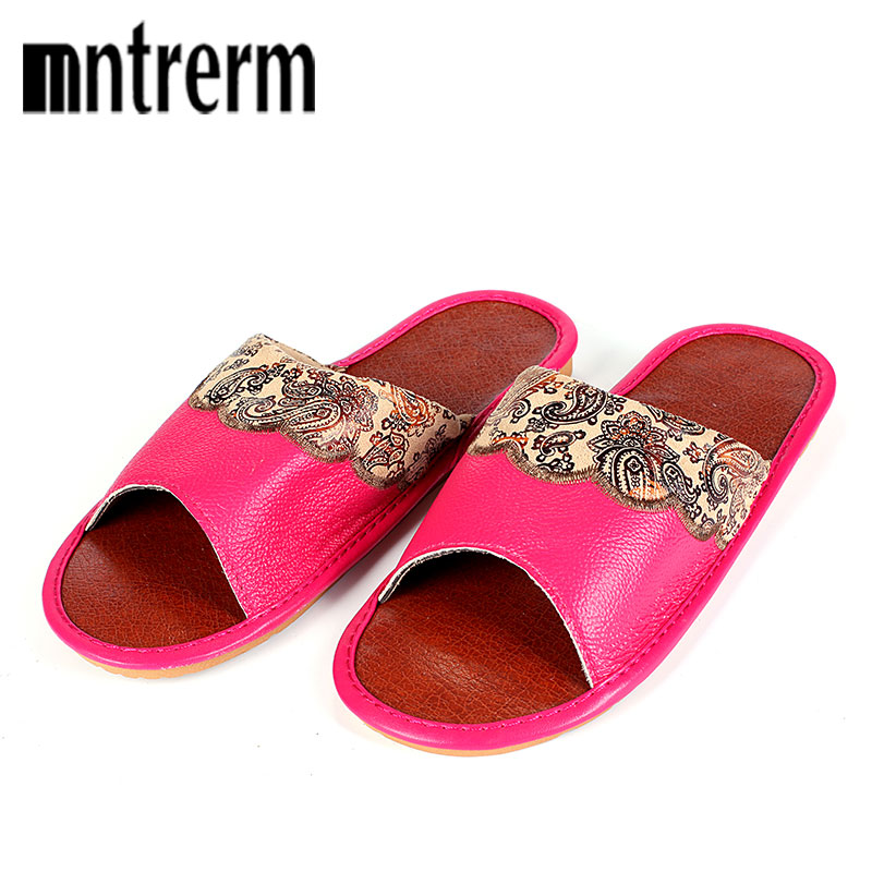 Mntrerm Summer Couples Leather Slippers Women House Home