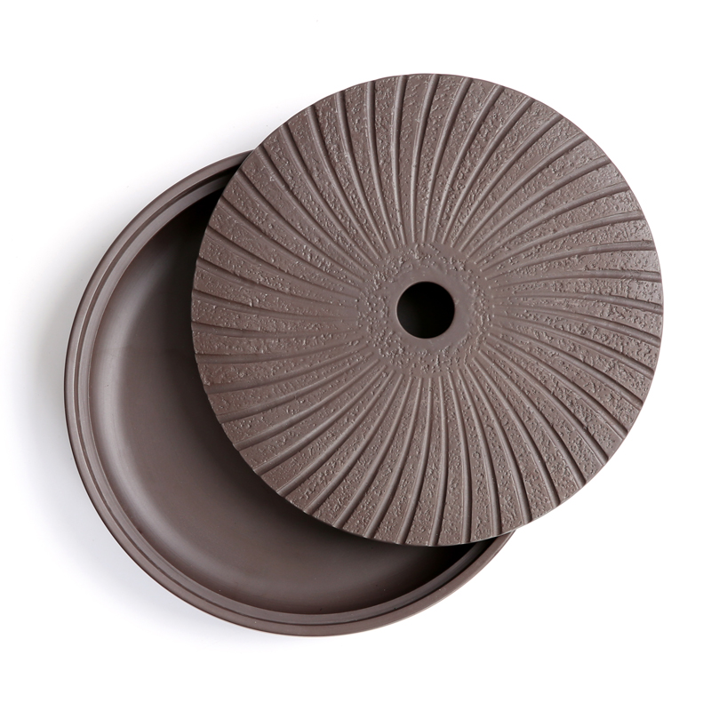Yixing Purple Clay Round Tea Tray 20.7*20.7*4.2cm Chinese Tea Ceremony Table Hand Made Kung Fu Tea Tray Teapot Crafts Tray