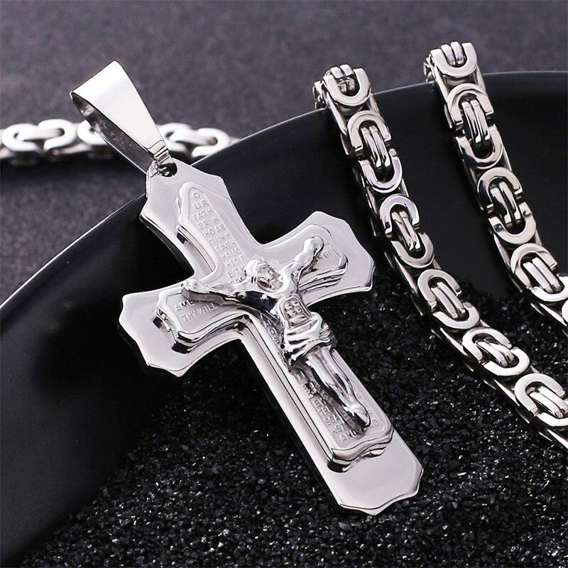 Trendsmax Jesus Cross Pendant Necklace For Men Gold Silver