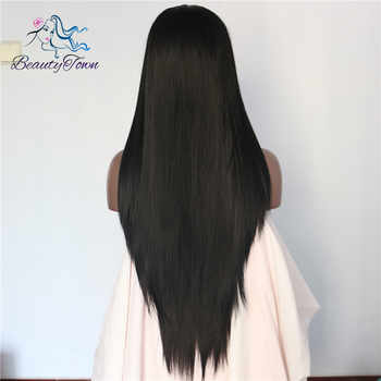 BeautyTown Black Color Straight Heat Resistant Futura No Tangle Synthetic Lace Front Wigs With Baby Hair For Women Daily Makeup