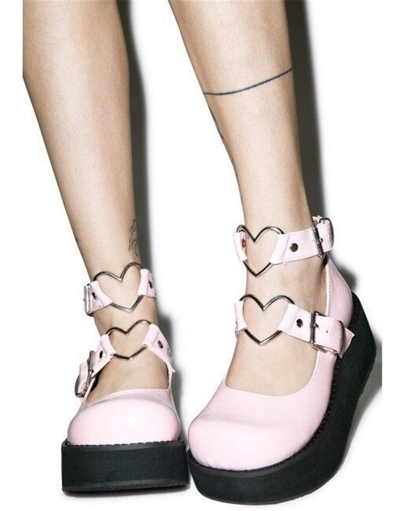 Lolita Corazón Hebilla Princesa 3 Redonda De Tacón Japonés 1 Suave Hermana Forma Al En Tobillo Linda 2 Zapatos Cuero Pequeños Ez8CFq