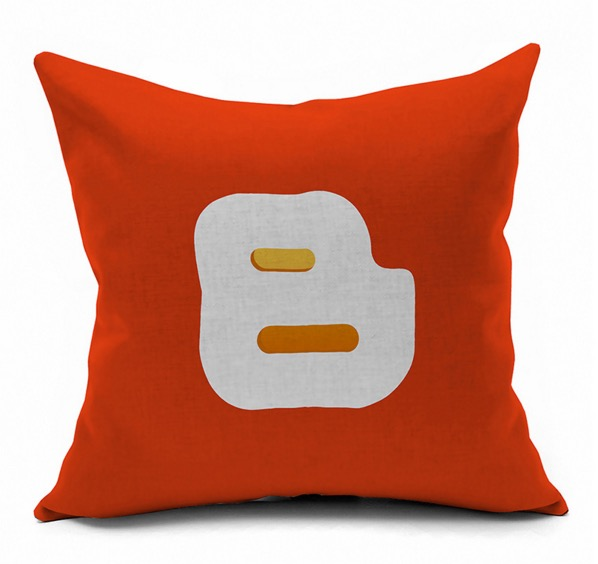 Blogger Internet Technology Symbol Logo Internet Emoji Pillow Massager  Decorative Pillows Cover Euro Home Decor Gift