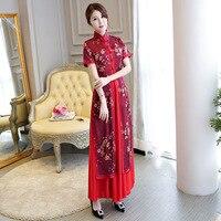 two piece set 2018 winter aodai vietnam charming retro chinese red long qipao traditional clothing ao dai for women