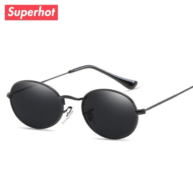 Superhot Lunettes-Ovale En Métal lunettes de Soleil Hommes Femmes Noir  Nuances Classique Lunettes De 5c130d6f3d18
