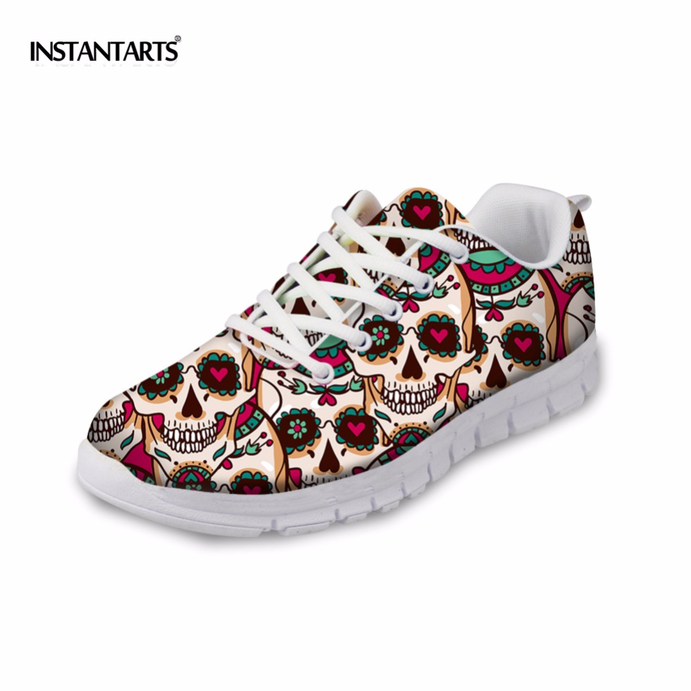 INSTANTARTS Women Casual Flats Shoes Ladies Skull Flower Printed Light Air Mesh Fashion Sneakers Girl Lace Up Shoes Plus Size instantarts fancy flamingos women flat sneakers comfortable spring woman casual lace up flats air mesh breathable students shoes