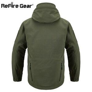 Image 4 - Refireギア紺ソフトシェルミリタリージャケット男性防水軍の戦術的なジャケットコート冬暖かいフリースフード付きウインドブレーカー