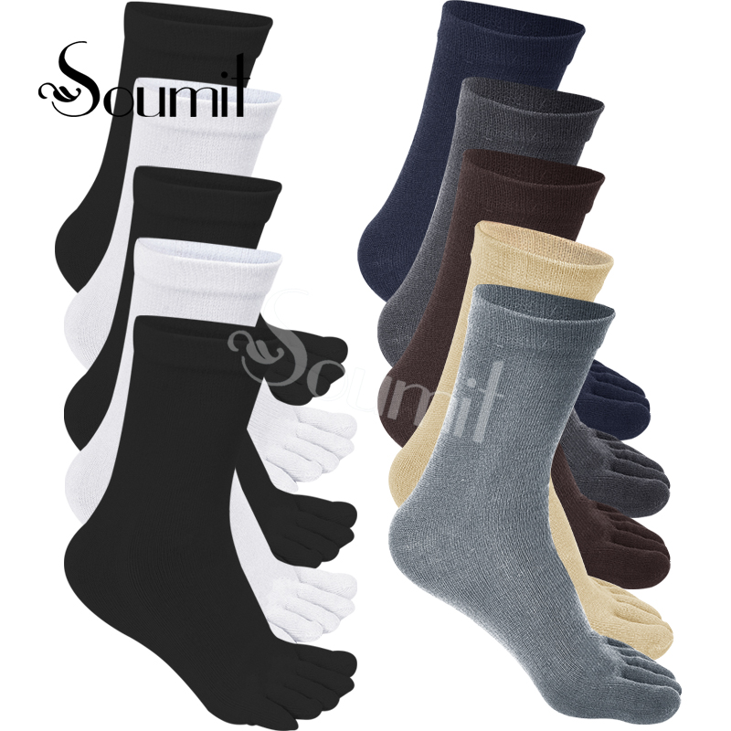 Soumit 5 Pairs/set Soft Five Toes Separated Cotton Socks for Men Women Breathable Deodorant Shoe Insoles Inner Pads Hot Sale