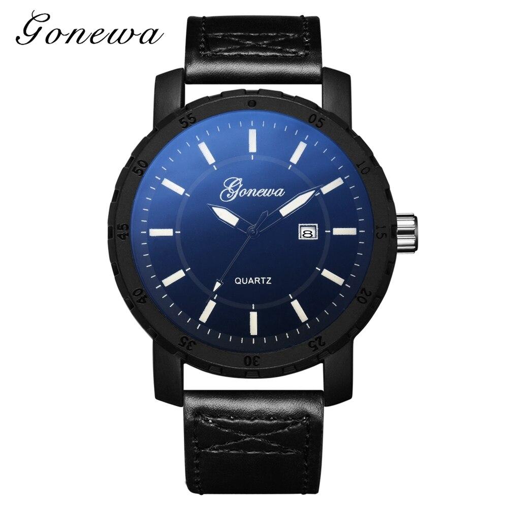Fashion Gonewa Brand Men Watches Luxury Sport Man Dress Calendar Leather Strap Business Army Quartz Wristwatch Montres Gift 2018