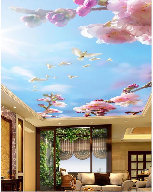 Custom 3d mural wallpaper Beautiful peach sky ceiling Landscape wallpaper murals  ceilings Home Decoration
