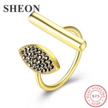 SHEON 925 Sterling Silver Golden Personality Pave Black Crystal Open Adjustable Finger Rings for Women Jewelry